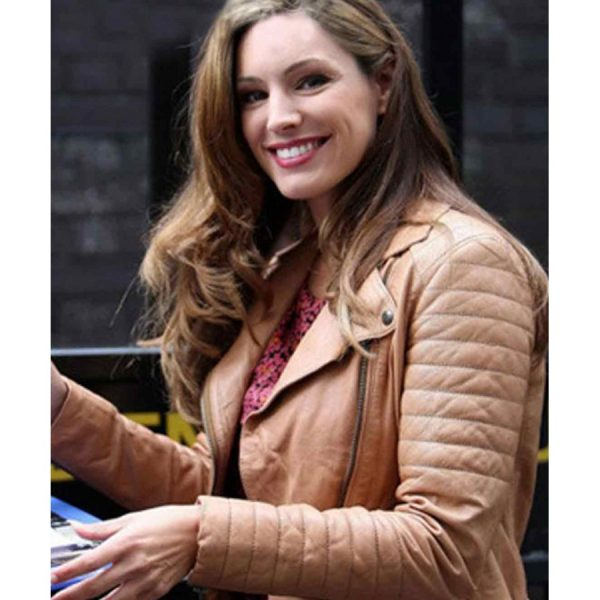 Kelly Brook Brown Leather Jacket