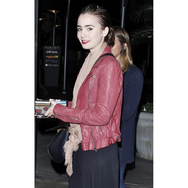 Lily Collins Spider-Man 2 Leather Jacket