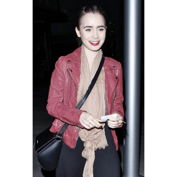 Late-Night Spider-Man 2 Lily Collins Leather Jacket-0