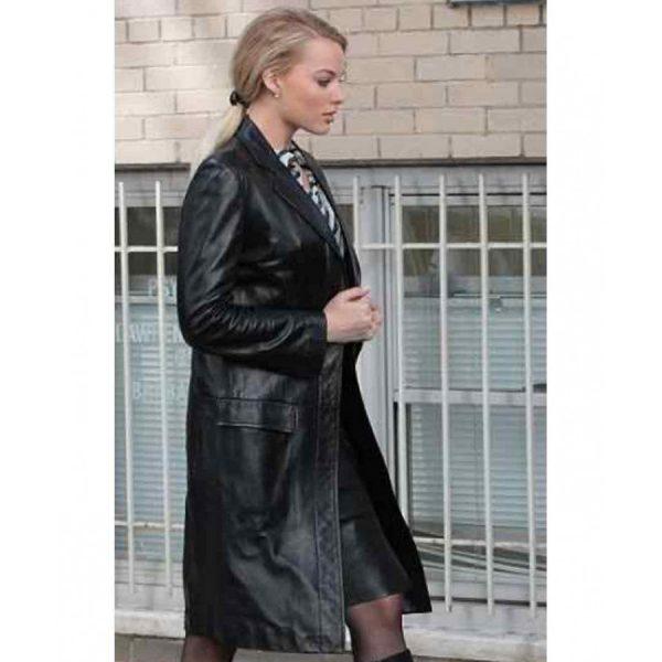 Australian Actress Margot Robbie Black Coat