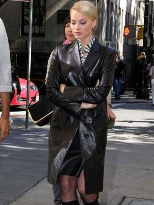 Australian Movie Actress Margot Robbie Leather Coat-0