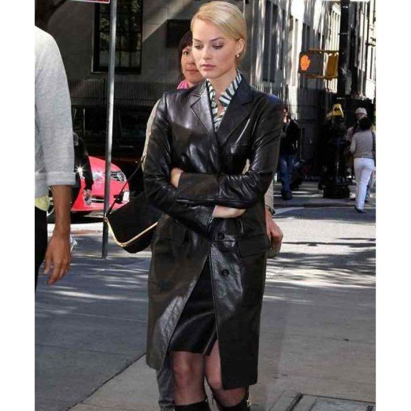 Australian Movie Actress Margot Robbie Leather Coat-0