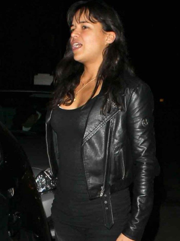 Michelle Rodriguez Black Leather Jacket From Fast and Furious 7