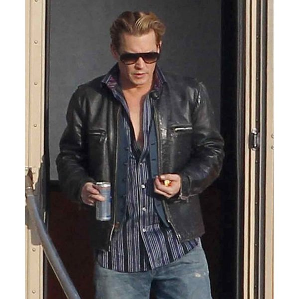 Charles Mortdecai Movie Johnny Depp Black Leather Jacket-0