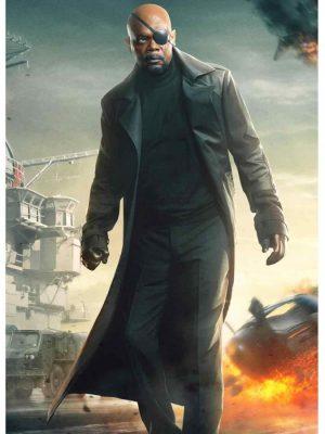 Captain America The Winter Soldier Black Nick Fury Coat-0