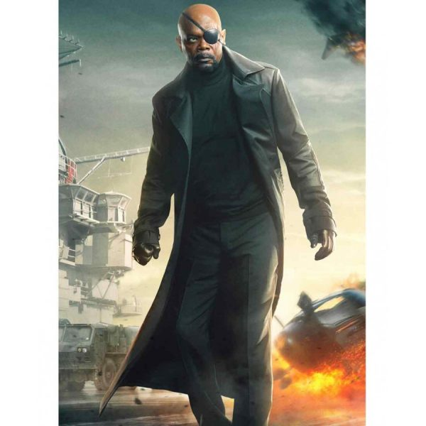 Captain America The Winter Soldier Black Nick Fury Coat-0