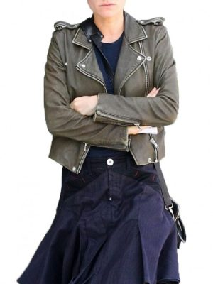 Anna Paquin Olive Green Cropped Leather Jacket-0