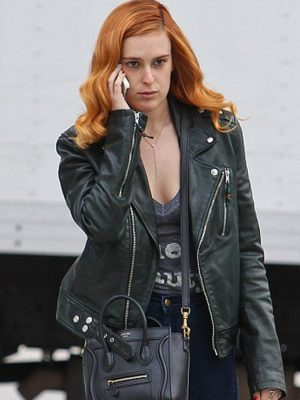 Biker Style Rumer Willis Black Leather Jacket-0