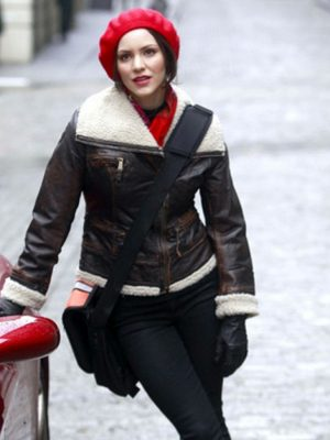 Katharine McPhee Shearling Bomber Leather Jacket From Smash