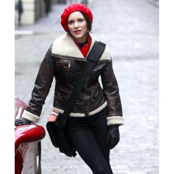 Katharine McPhee Shearling Bomber Leather Jacket From Smash
