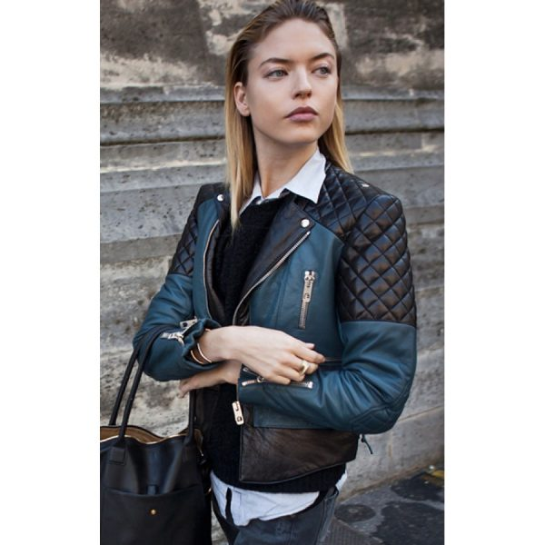 Martha Hunt Quilted Leather Jacket