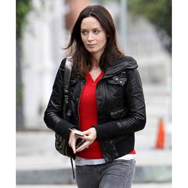 Emily Blunt Los Angeles Black Leather Jacket