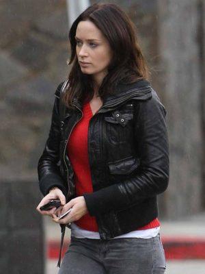 Emily Blunt Black Leather Jacket
