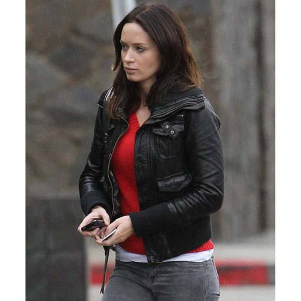 Emily Blunt Black Leather Jacket