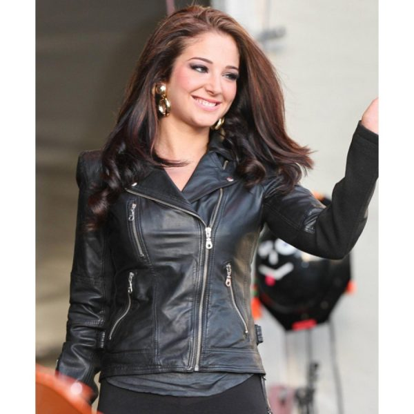 Biker Style Tulisa Contostavlos Black Leather Jacket-0