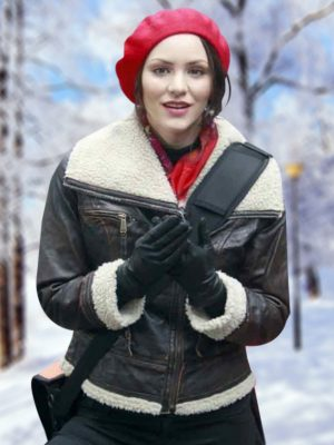Katharine McPhee Smash Womens Shearling Winter Bomber Jacket-0