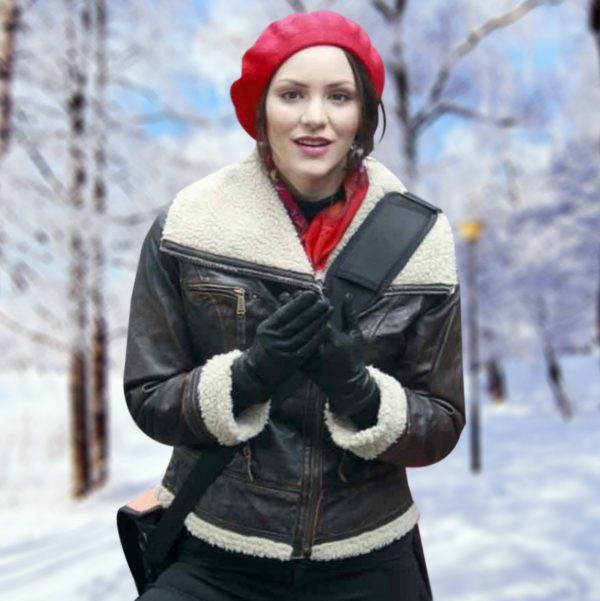 Katharine McPhee Smash Womens Shearling Winter Bomber Jacket-0