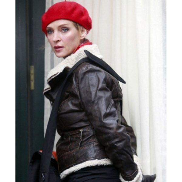 Katharine McPhee Brown Shearling Leather Jacket