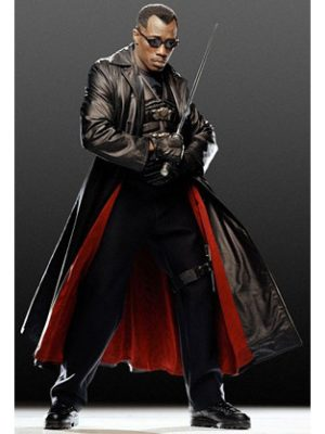 Wesley Snipes Blade Trench Leather Coat-0