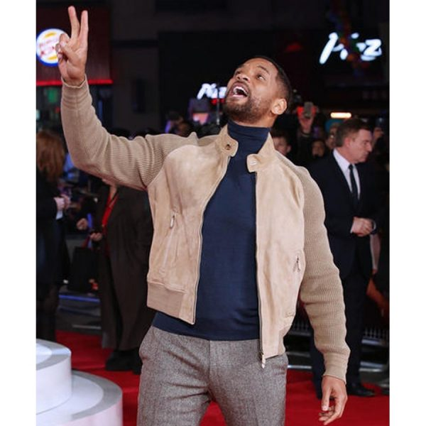 Will Smith Focus 2015 Film Music Release Show Fawn Leather Jacket