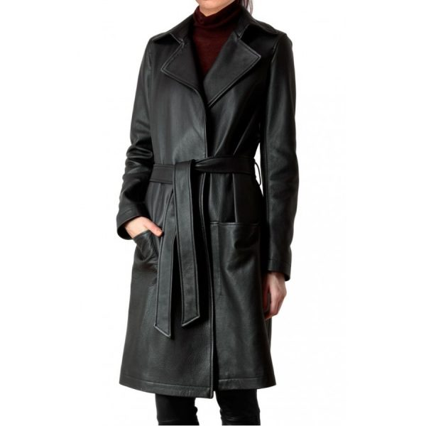 Women's Belted Black Leather Coat-0