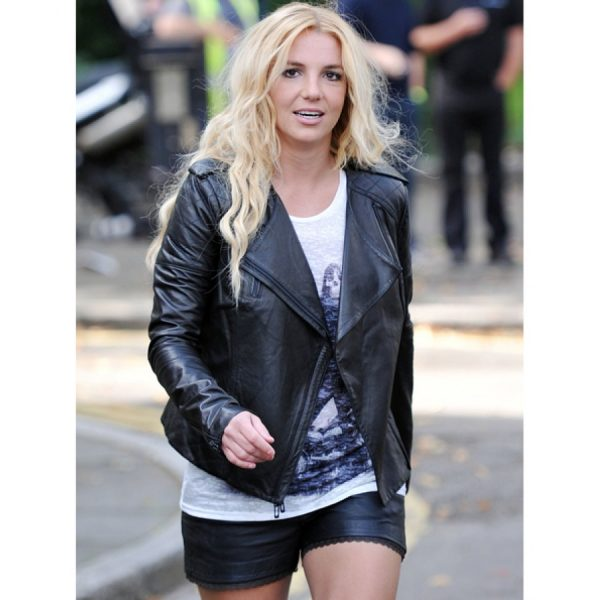 Britney Spears Black Leather Quilted Jacket-0
