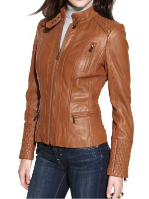 Designer Womens Brown Leather Motorcycle Jacket-0