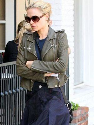 Anna Paquin Olive Green Cropped Jacket