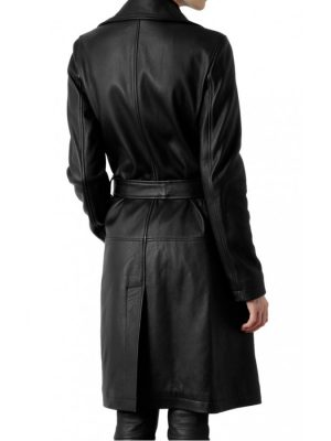 Women's Belted Black Trench Coat