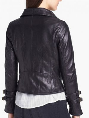 Black Leather Biker Jacket For Women