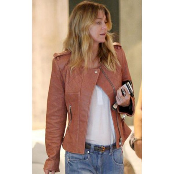Ellen Pompeo Tan Leather Jacket for Womens-0