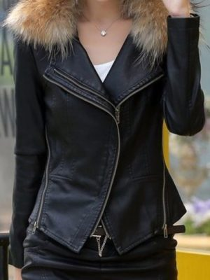Womens Black Fur Winter Leather Jacket-0