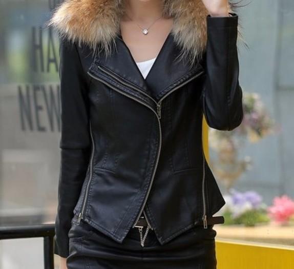 Womens Black Fur Winter Leather Jacket-0