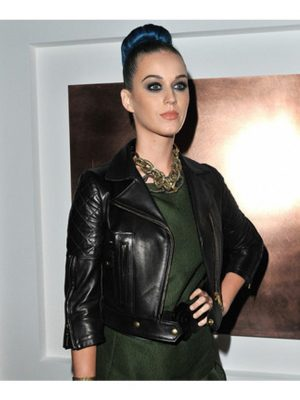 Katy Perry Black Biker Winter Leather Jacket-0