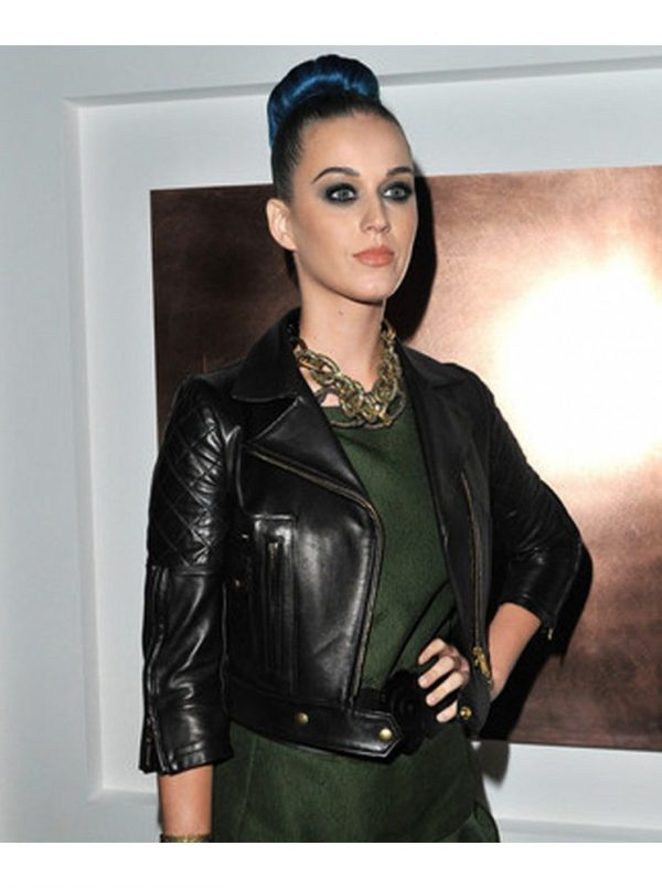 Katy Perry Black Biker Winter Leather Jacket-0