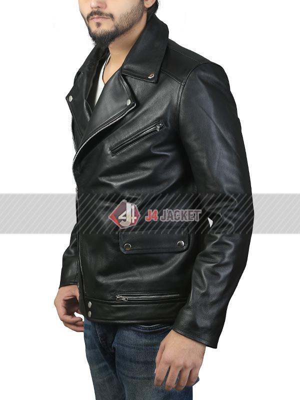 Eddie Redmayne Black Leather Jacket
