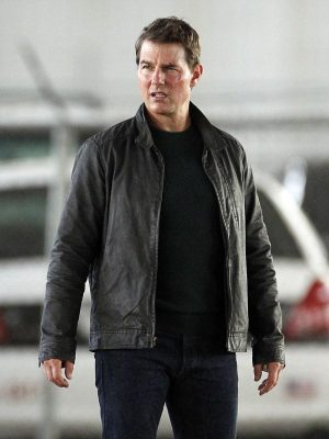 Tom Cruise Black Leather Jacket Jack Reacher Never Go Back -0