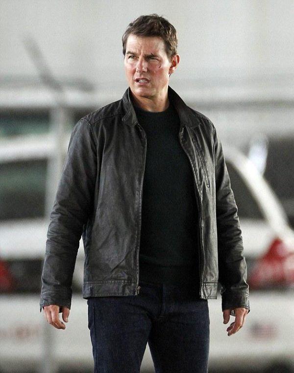 Tom Cruise Black Leather Jacket Jack Reacher Never Go Back -0