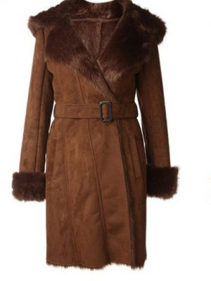Womens Brown Hoodie Winter Leather Long Coat-0