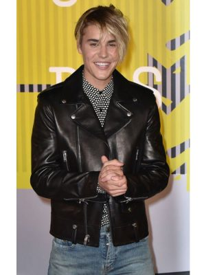 Justin Bieber Black Leather Jacket MTV Music Awards 2015-0