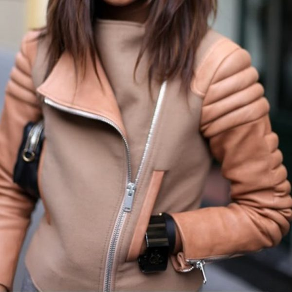 Womens Peach winter Leather Jacket-0