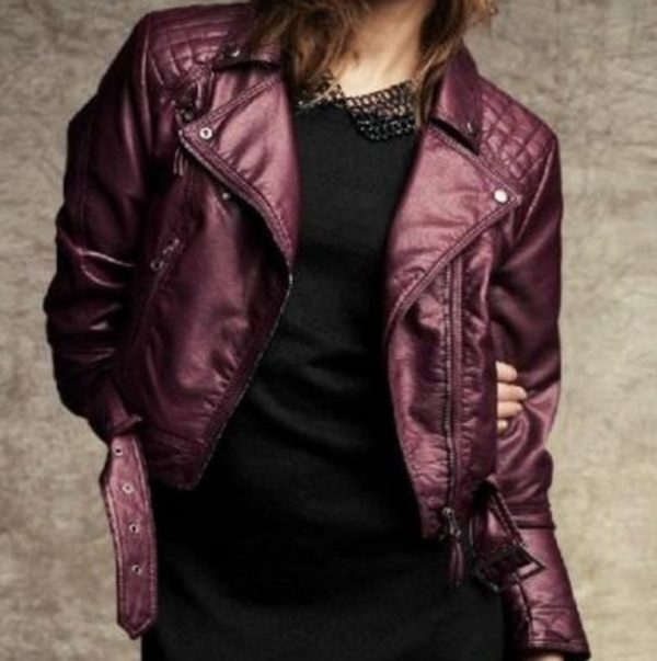 Womens Fashion Winter Leather Jacket-0