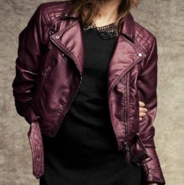 Womens Fashion Winter Leather Jacket-0