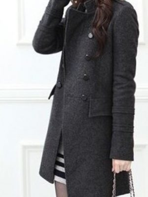 Womens standing collar Wool Winter Coat -0