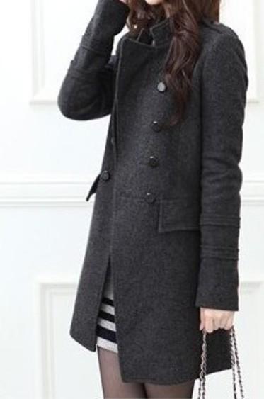 Womens standing collar Wool Winter Coat -0