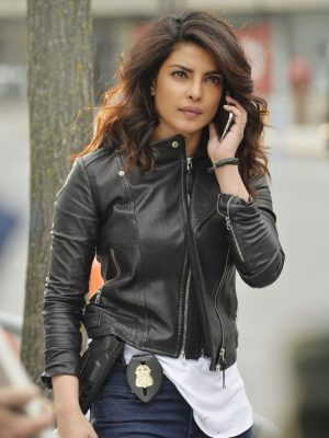 priyanka chopra Quantico season Black Leather Jacket-0