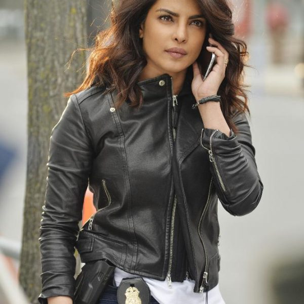 priyanka chopra Quantico season Black Leather Jacket-0