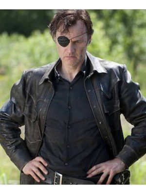 David Morrissey Black Leather Jacket The Walking Dead -0