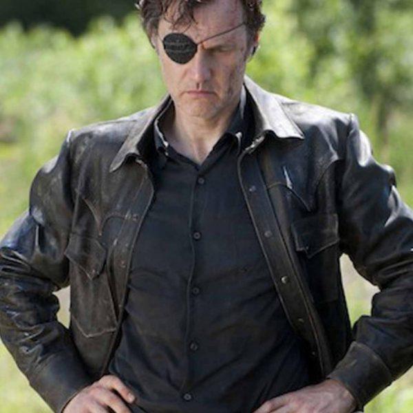 David Morrissey Black Leather Jacket The Walking Dead -0