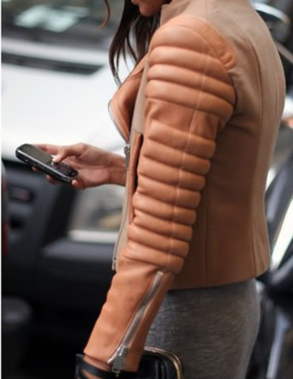 Womens Peach Leather Jacket